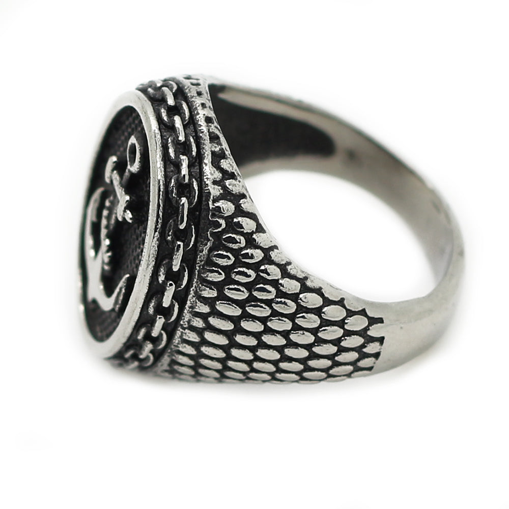 silver mens anchor ring