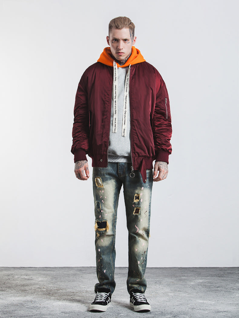 wine bomber jacket