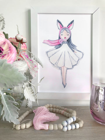 Art Print of whimsical bunny girl enchanted watercolour painting from Australian artist