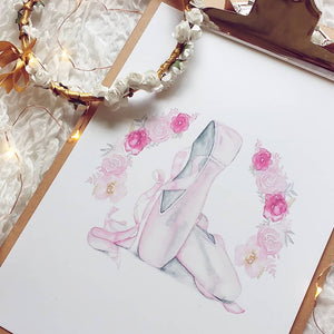 Beautiful ballerina fine art print in watercolours for girls bedroom or children's spaces. Modern Scandi decor by Australian artist.