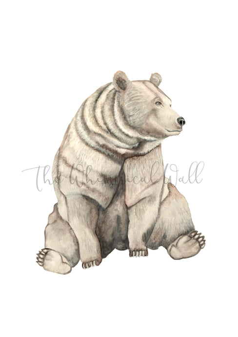Bear fine art print in watercolours, for nursery, childrens bedroom, playroom. Modern woodland animal.