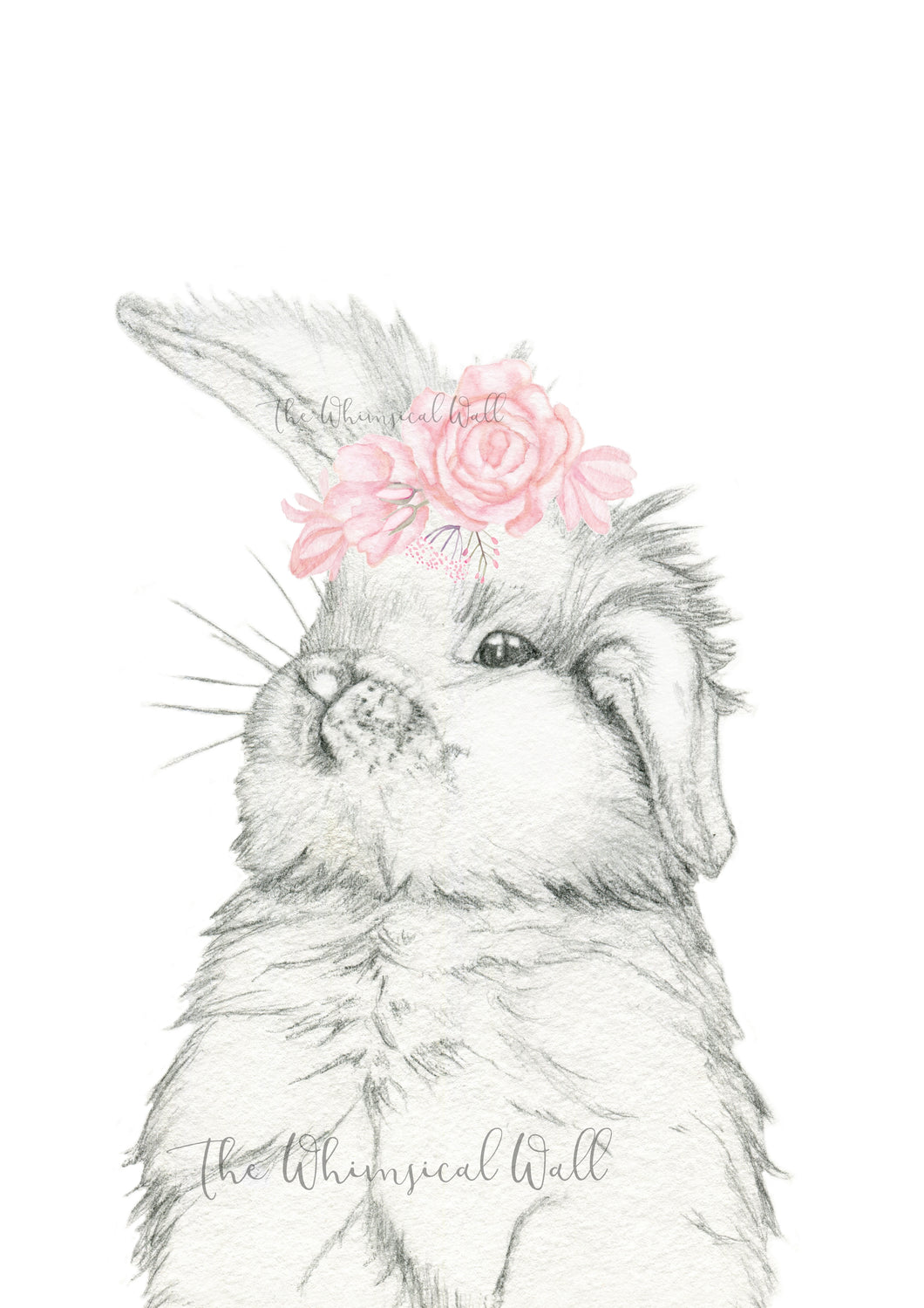 Bunny Drawing with flowers