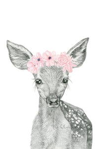 Fawn Drawing with flowers