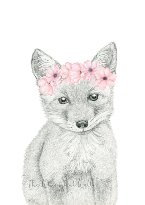 Fox Drawing with flowers