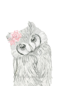 Owl Drawing with flowers