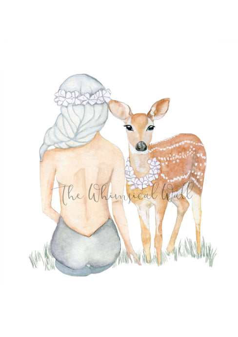 Girl and Deer *more colour options