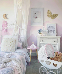 Nursery, girls bedroom styled, beautiful purple with canopy, modern fine art print. Home decor and interior design perfection.