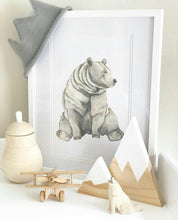Bear fine art print displayed on a shelf with handmade products. Scandi home decor for boys bedroom, nursery, playroom. Modern Woodland animal.