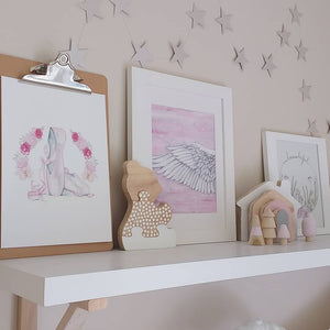 Styled shelf with fine art prints from Australian artist, ships worldwide. Girls bedroom, modern scandi home decor. Boutique quality art prints and hand made.