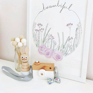 Fine art print, Lavender flowers in a wreath on a shelf, styled with hand made wooden products from Instagram. Australian watercolour artist. Decor for kids and childrens spaces.