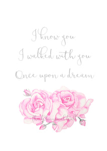 Pink Roses Fine Art Print with sweet quote, fairy tale flowers for girls bedroom, kids space or nursery