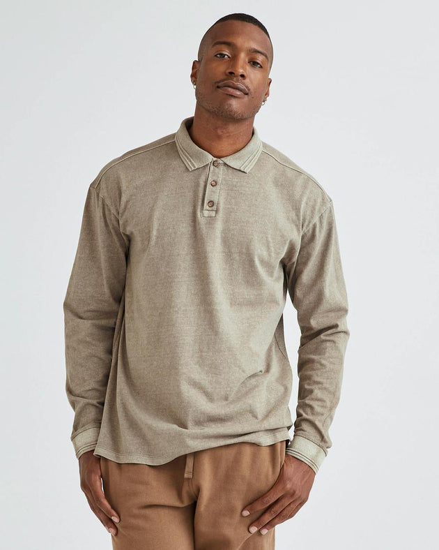Relaxed Long Sleeve Polo - Warm Grey