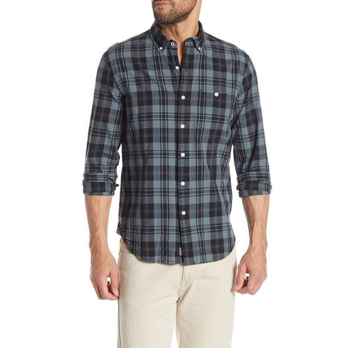 Long Sleeve Madras Plaid Trim Fit Woven Shirt - Anthracite