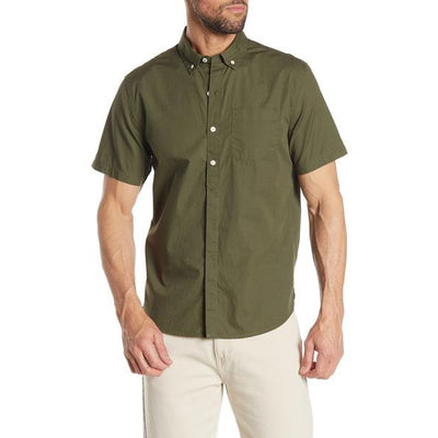 Short Sleeve Stretch Fit Poplin Shirt - Olive