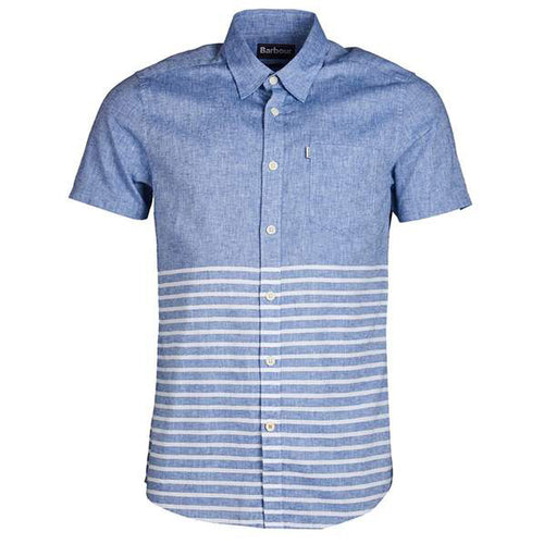 Barbour Rowlock Short Sleeve Button Up- Blue/While Stripe