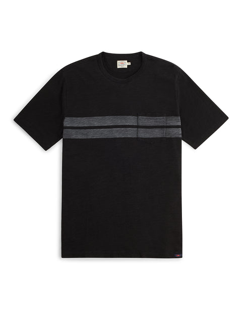 Twin Stripe Pocket Tee - Washed Black