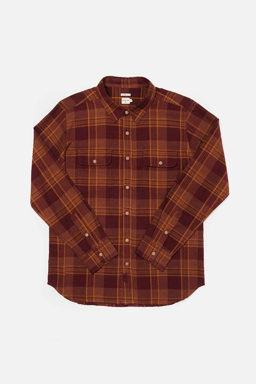 Cole Long Sleeve Button Up - Burgundy Plaid