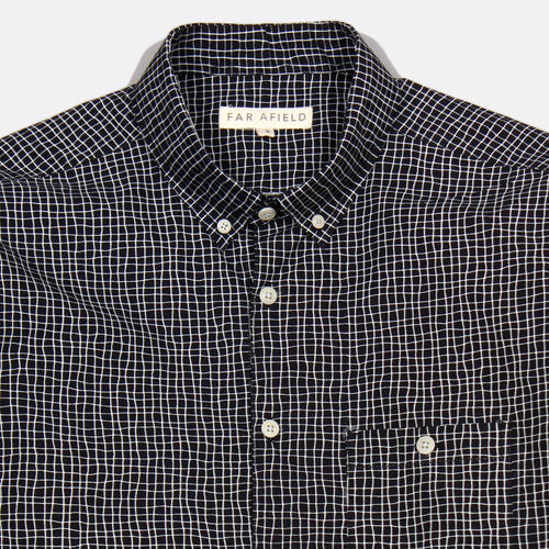 Casual Long Sleeve Button Up - Terrain Check/Blue Graphite
