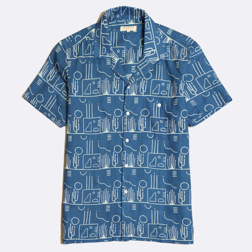 Selleck Linen Short Sleeve Button-Up Shirt - Blue