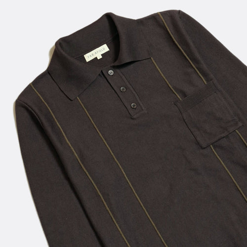Alfaro Long Sleeve Polo - Espresso Grey
