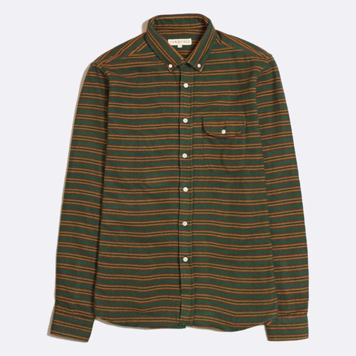 Larry Long Sleeve Shirt - Streamer Green Stripe