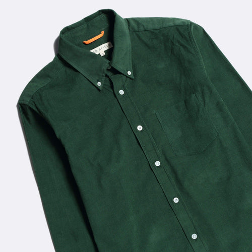 Field Long Sleeve Shirt - Green Corduroy