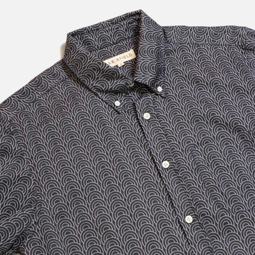Mod Button Down Long Sleeve Shirt - Dark Navy Innerness