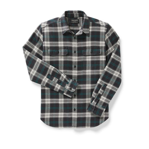 Vintage Long Sleeve Work Flannel - Black/Teal/Cream