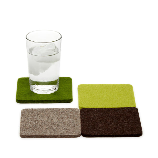 Felt Coaster Multipack, Square - Forest Mix