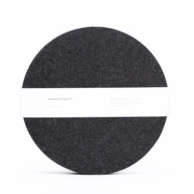 Felt Placemat, Round, Set of 4 - Charcoal