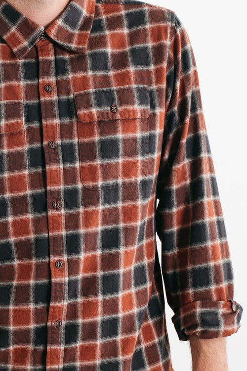 Bedford Plaid Long Sleeve Button Up - Rust/Charcoal