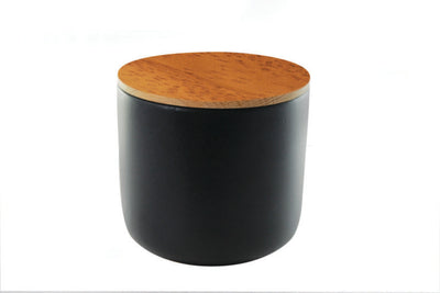 Stoneware Jar with Acacia Lid - Black (various sizes)