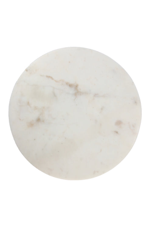 Marble Round Board Grooves- White