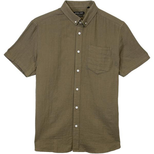 Short Sleeve Two Faced Gauze Button Down - Olive