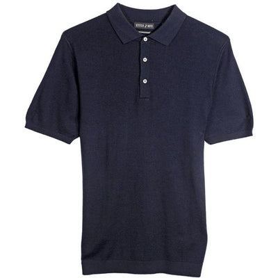 Merino Wool Polo - Navy