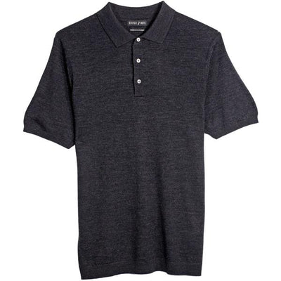 Merino Wool Polo - Black