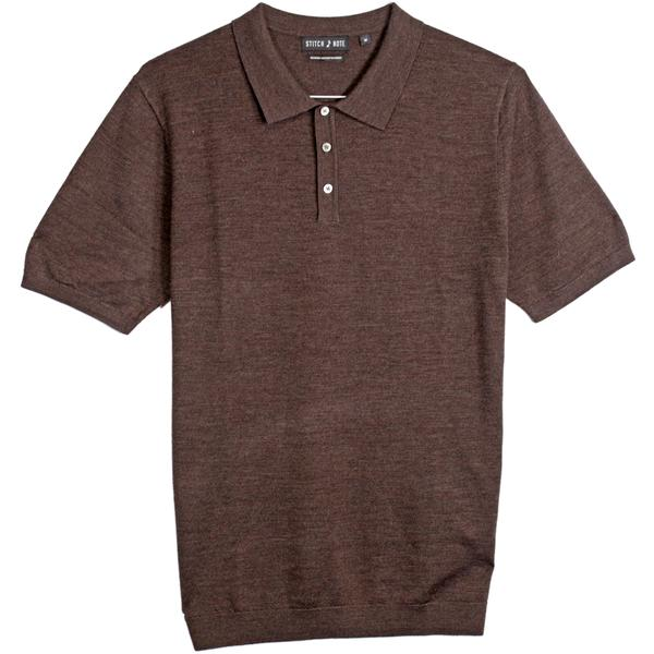 Merino Wool Polo - Brown