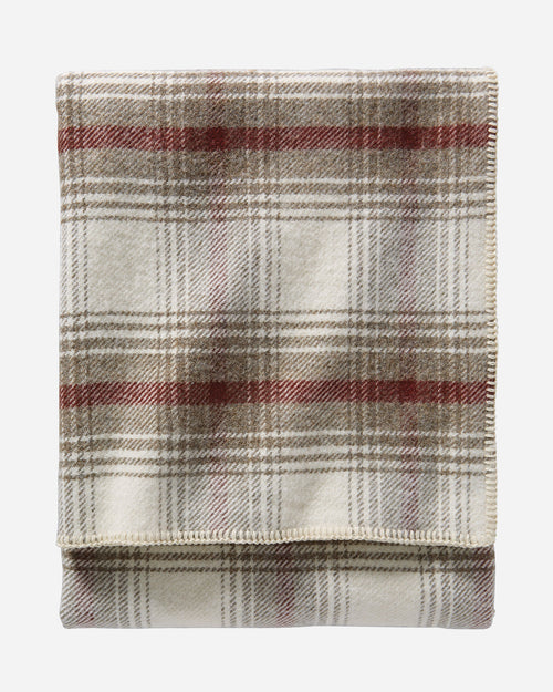 "Washable Eco-Wise Wool Plaid/Stripe Blanket, 66"" x 96"" - Ivory Waverly"