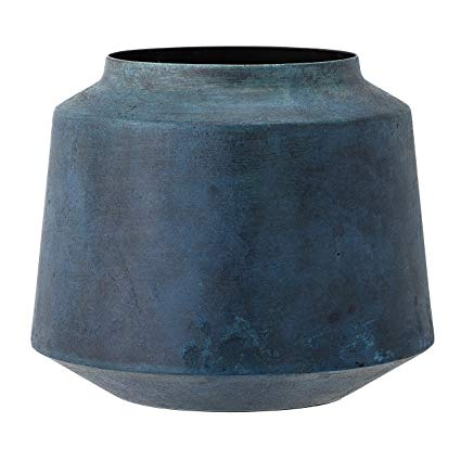 Marbled Blue Metal Vase