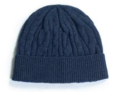 Wool Blend Cable Knit Cap - Navy