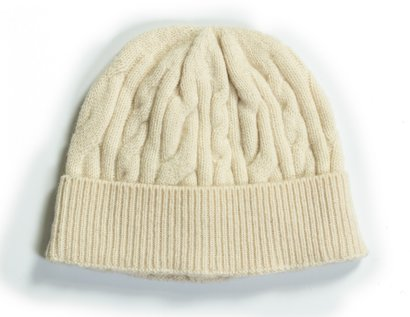 Wool Blend Cable Knit Cap - Off White