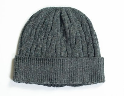 Wool Blend Cable Knit Cap - Sage