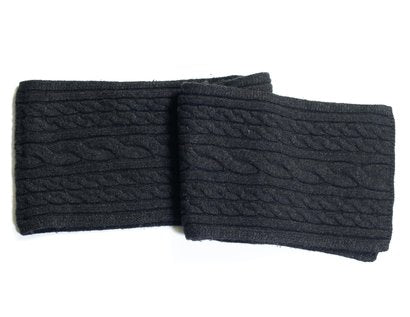 Wool Blend Cableknit Scarf - Black