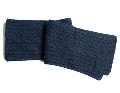 Wool Blend Cableknit Scarf - Navy