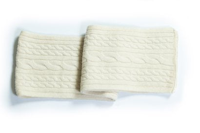 Wool Blend Cableknit Scarf - Off White