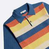 Leroy Short Sleeve Polo - Ensign Blue Stripe