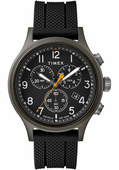 Allied Chronograph 42mm Silicone Strap Watch - Black