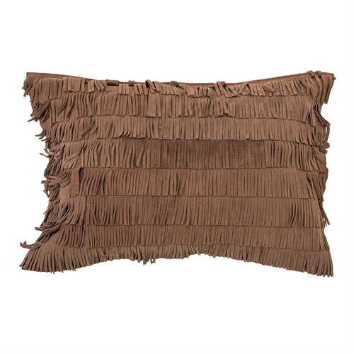 Cotton Pillow With Suede Fringe - Brown
