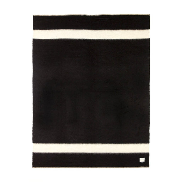 The Siempre Recycled Blanket - Black And Ivory Stripe