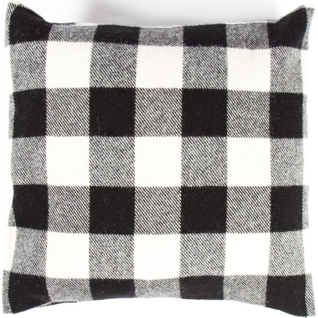 "Buffalo Check Pillow, 20"" x 20"" - White/Black"
